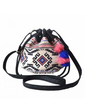 Women Lovely Colorful Mini Folk Stripe Geometry Drawstring Bucket Bag Shoulder Bag