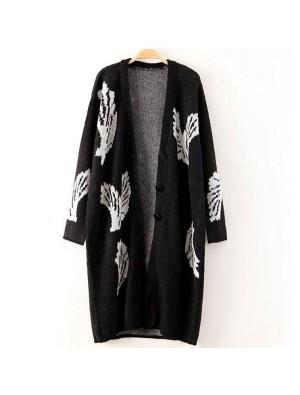 Fashion Big Wings Black Long Cardigan Coat