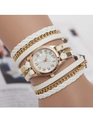 Fashion Metal Chain Leather Braided Three Laps Bracelet Watch
