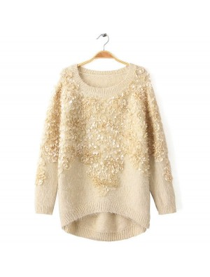 Beautiful Three-dimensional Decorative Flower Sweater