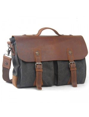 Retro Large Thick Canvas Splicing Real Leather Flap Handbag Leisure Laptop Shoulder Bag