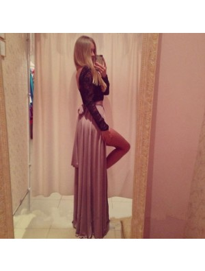 Deep V Side Slit Middle Sleeve Long Dresses