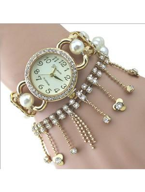 Nice Pearl Beaded Diamond Chain Tassel Bracelet Watch
