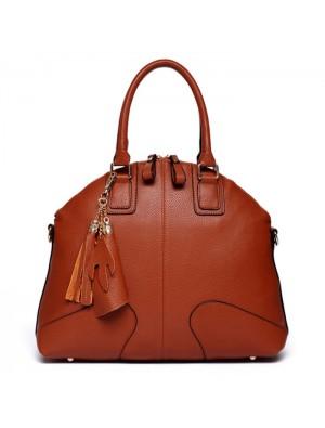 Fashion Brown Shells Leather Tassel Handbags
