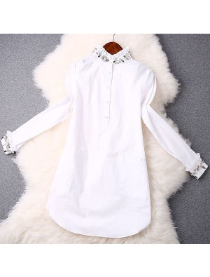 Fashion Neckline Beaded Elegant White Dress Shirt
