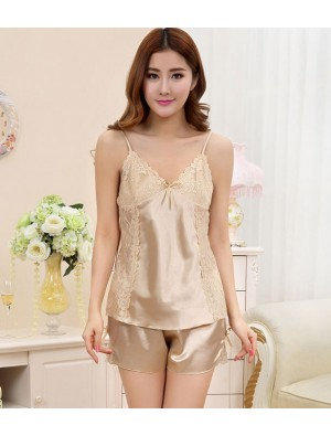 Sexy Temptation Silk Harness Straps Two-piece Pajamas