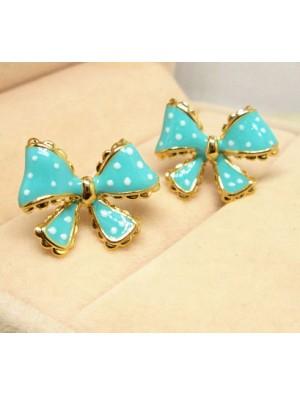 Fashion Dot Lace Trim Bow Earrings