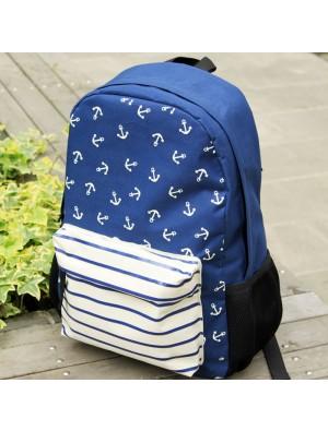 Navy Striped Anchor Print Backpack & School Bag