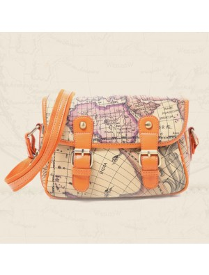 Vintage Columbus Map Leather printing Shoulder Bag&Messenger Bag