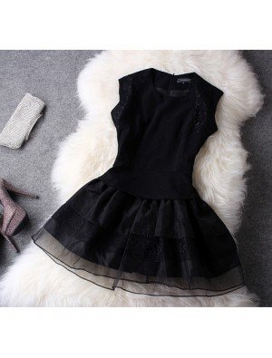 Elegant Black Organza Lace Dress&Party Dress