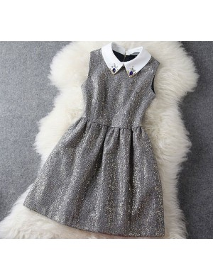 Fashion Woolen Beaded Gold Sleeveless Dress &Party Dress