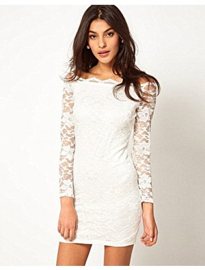 Fashion Strapless Boat Neck Lace Slim Dress&Party Dress