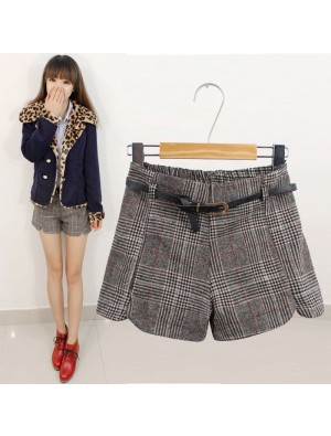 Vintage Plaid High Waist Woolen Shorts
