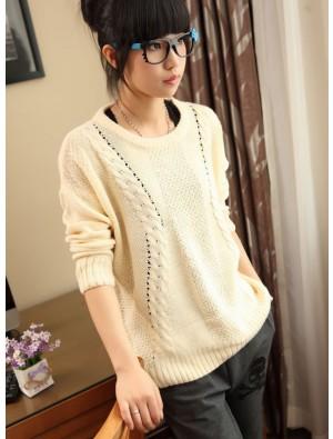 New Sweet College Style Twist Bat Sleeve Sweater &Cardigan