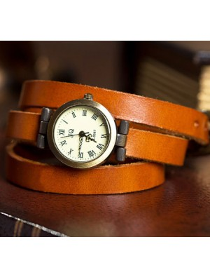 Retro Three Laps Wound Leather Strap Vintage Watch
