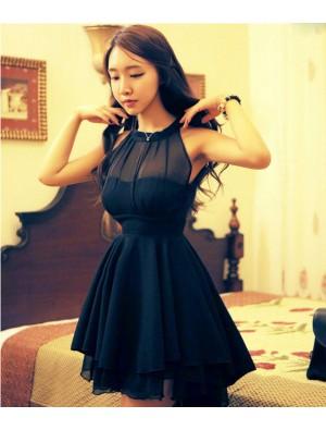 Sexy Perspective Irregular Mesh Stitching Chiffon Party Dress &Dress