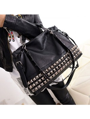 Fashion Rivets Women Leather Shoulder Bag Punk Square Rivet Handbag