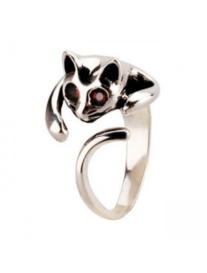 Cute 3D Cat  Silver  Animal Ring