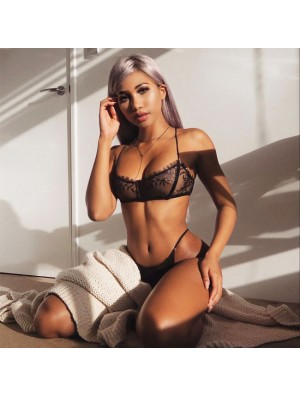 Sexy Black Lace Bra Set Bikinis T-pants Underwear Women Intimate Lingerie