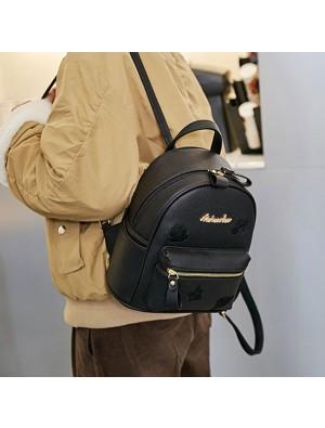 Leisure Small Black Mini Bag PU Simple Girl Backpack