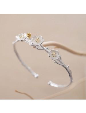 Creative Flower Cherry Branch Silver Open Bracelet Lover Gift Jewelry Women Bracelet