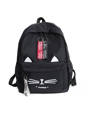 Cute Cartoon Cat Student Bag Large Kitten Canvas School Backpack