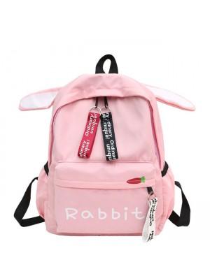 Cute Rabbit Ear Rucksack Large Student Bag Girl Canvas School Backpack