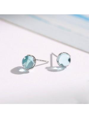 Unique Droplets Crystal Silver Tear Water Women Earrings Studs