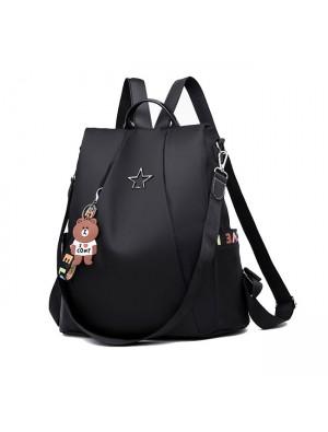 Leisure Black Star Button High School Bag Multi-function Shoulder Bag Oxford Large Backpack