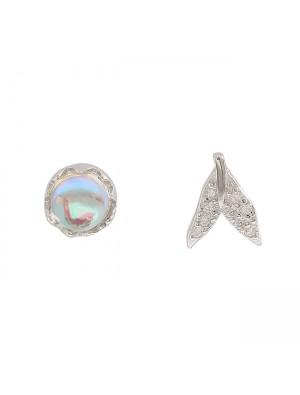 Unique Mermaid Tail Tear Crystal Silver Water Droplets Women Earrings Studs
