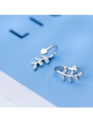 Fresh Earless Hole Silver Leaves Women Leaf Diamond Earring Clip