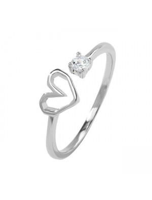 Romantic Love Heart Silver Crystal Cat Girl Open Ring