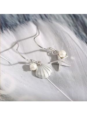 Fashion Sterling Silver Starfish Pearl Shell Earrings Long Tassel Drop Earrings