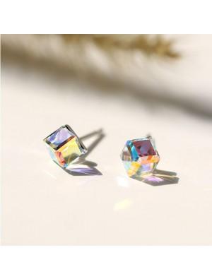 Cute Crystal Square Sugar Cube Silver Women Earrings