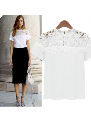 Unique Hollow Out Lace Short Sleeve Shirt
