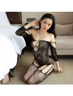 Sexy Siamese Mesh Embroidered Flowers Open Stocking Black Hollow Jacquard Conjoined Lingerie
