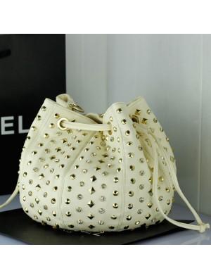 Fashion Diamond Rivets Bucket Leather Bag