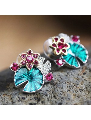 Fashion Multifunctional Lotus Leaf And Flower Folk Earring &Necklace &Bracelet