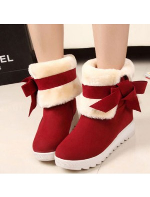 Cute Bowknot Warm Winter Snow Boots Shoes