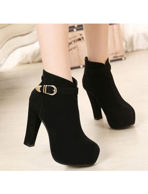Fashion Black Round Buckle Woman Martin Boots
