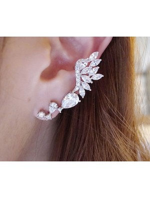 Shiny Rhinestone Angle Wings Stud Earring
