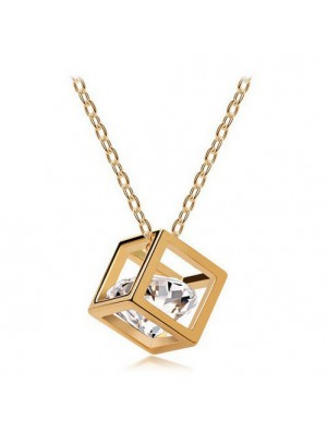Square Crystal Zircon Gold Plated Necklace