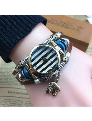 Handmade Striped Animal Charm Leather Bracelet Watch