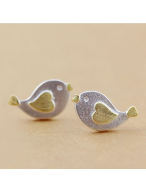 Lovely Heart Bird Silver Stud Earrings