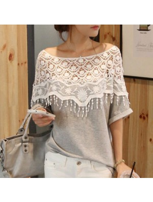 Sweet Hollow Lace Tassel Bat Sleeve T-shirt