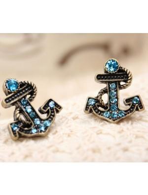 Retro Style Navy Rhinestone Anchor Earrings