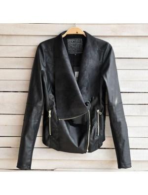Punk Zipper Double Lapel Leather Jacket