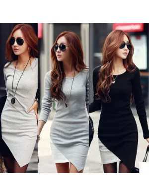 Irregular Hem Long Sleeve Bottoming Dresses