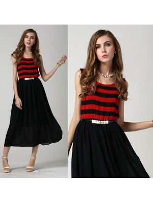 Summer Striped Vest Stitching Sleeveless Chiffon Dress
