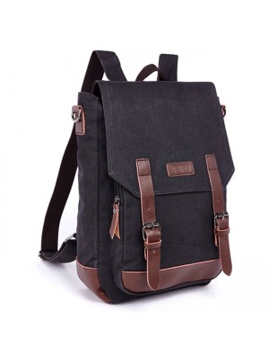 Retro Splicing PU Belts Flap Laptop Bag School Canvas Backpack Travel Square Rucksack